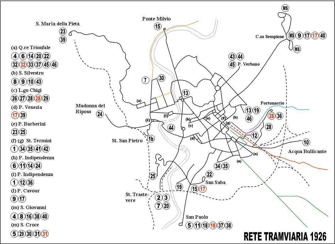 Cartina Tram Roma.Dal 1925 Alla Riforma Tramviaria Rev B5